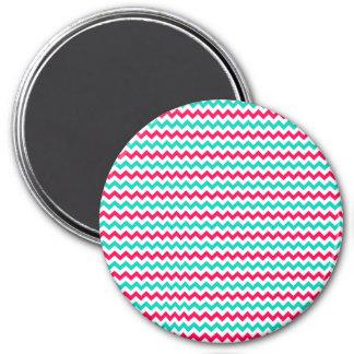 Pink, Aqua, White Chevron Striped Magnets