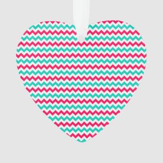 Pink, Aqua, White Chevron Striped Ornament