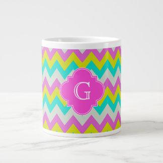 Pink Aqua Yellow Wht Chevron Quatrefoil Monogram 20 Oz Large Ceramic Coffee Mug