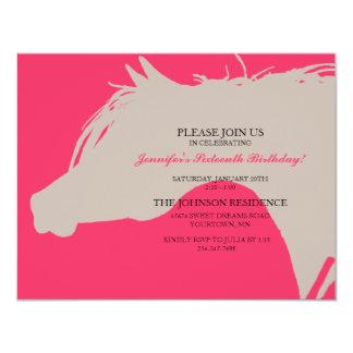 Pink Arabian Horse Head Birthday Party Invitation