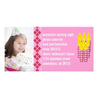 Pink Argyle Birthdy Photo Invitation Photo Card Template