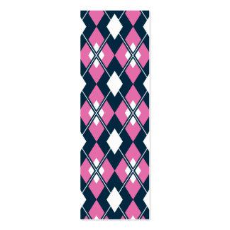 Pink Argyle Bookmark Mini Business Card