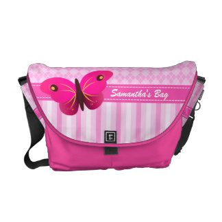 Pink Argyle Butterfly Medium Rickshaw Courier Bag