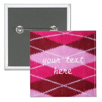 Pink Argyle Coziness Button