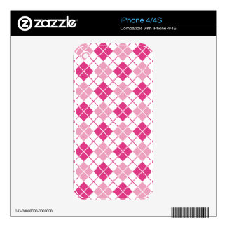 Pink Argyle Decals For iPhone 4
