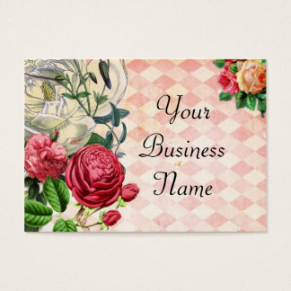Pink Argyle Floral Business Card
