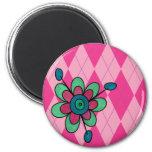 Pink Argyle & Flower Fridge Magnet