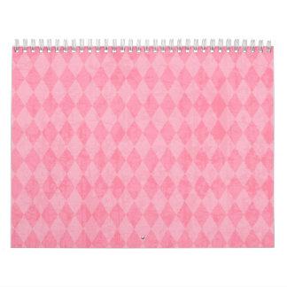 Pink Argyle Harlequin Preppy Diamond Print Calendar