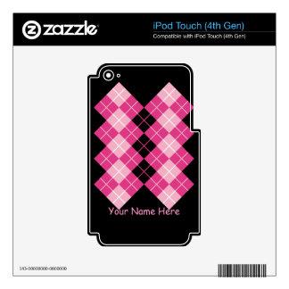 Pink Argyle iPod Touch 4G Decals