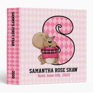 "Pink Argyle Monogram ""S"" Baby Scrapbook 3 Ring Binders"