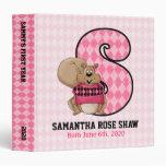 """Pink Argyle Monogram """"S"""" Baby Scrapbook Binder"""