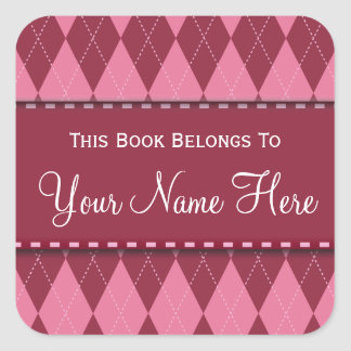 Pink Argyle Name Book Plate Sticker