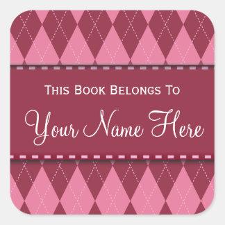 Pink Argyle Name Book Plate Sticker