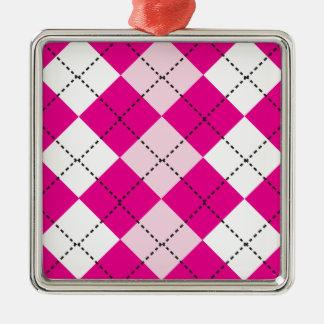Pink Argyle Square Metal Christmas Ornament
