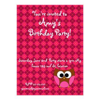 Pink argyle owl invitation