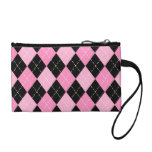 Pink Argyle Pattern Bagettes Key Coin Clutch Coin Wallets