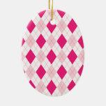 Pink Argyle Pattern Christmas Tree Ornaments