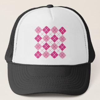 Pink Argyle Pattern Trucker Hat