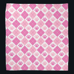 """Pink Argyle Paw Print Pattern Bandana<br><div class=""""desc"""">Show off your love of animals with this cute paw print themed bandana. This item displays pink argyle paw print pattern. Maybe you&#39;re searching for a special gift for an animal lover in your life? This product is a great gift for cat owners, dog owners, veterinarians, vet techs, veterinary assistants,...</div>"""
