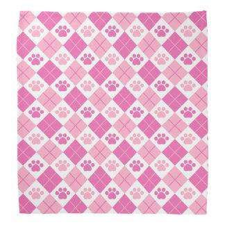 Pink Argyle Paw Print Pattern Bandana