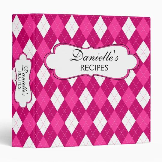 Pink Argyle Personalized 1.5 Inch Binder
