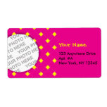 Pink Argyle Photo Label