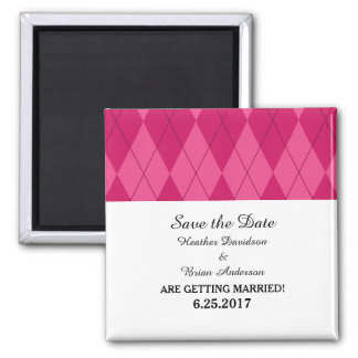 Pink Argyle Save the Date Magnet