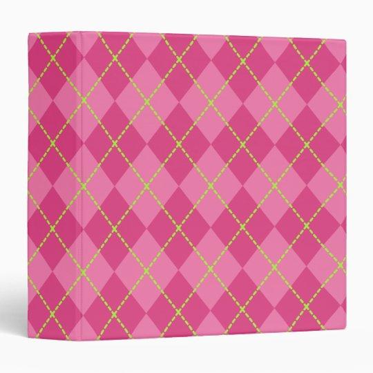 Pink Argyle School Class Folder Binder Gift