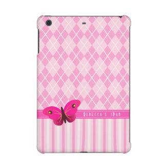 Pink Argyle Stripes Butterfly Girly IPad Mini Case