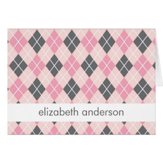 Pink Argyle Thank You Notes