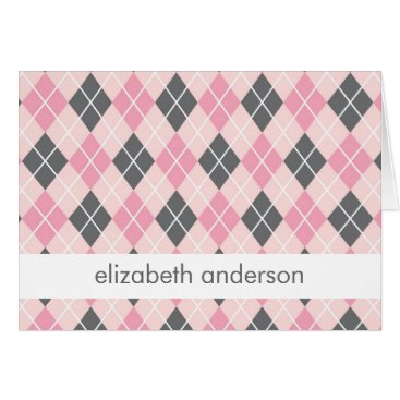 heartlocked Pink Argyle Thank You Notes