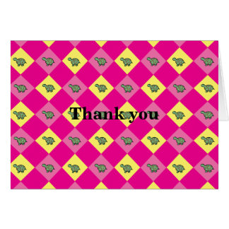 Pink argyle turtle pattern card