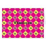 Pink argyle turtle pattern greeting card