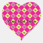 Pink argyle turtle pattern heart sticker