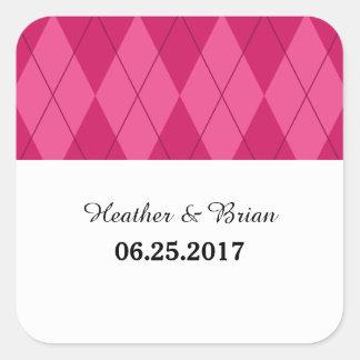 Pink Argyle Wedding Stickers