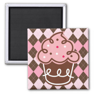 Pink Argyle with Sweets 2 Inch Square Magnet