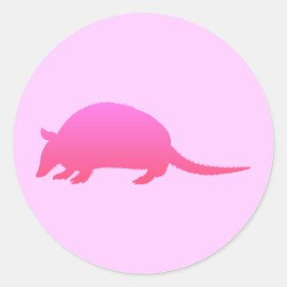 Pink Armadillo Classic Round Sticker