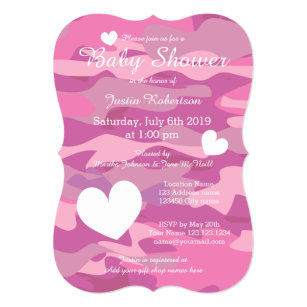 Army baby invitations announcements zazzle pink army camo baby shower invitations with hearts filmwisefo Gallery