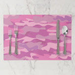 """Pink army camo camouflage tearaway placemats<br><div class=""""desc"""">Hunter pink army camo camouflage tearaway placemats. Hunting print design with custom background color. Great for wedding party,  themed dinner party,  sweet 16 Birthday,  bridal shower etc. Disposable table decorations and paper party supplies. Add your own bride and groom name,  family name,  logo etc. Cool pattern design.</div>"""