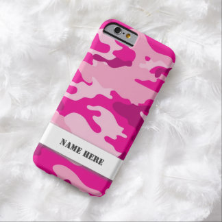 Pink Army Camo Camouflage with optional name area Barely There iPhone 6 Case