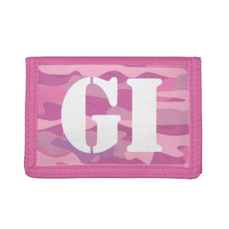 Pink army camouflage monogrammed wallet for girl