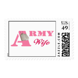 Pink Army Wife Postage Stamps