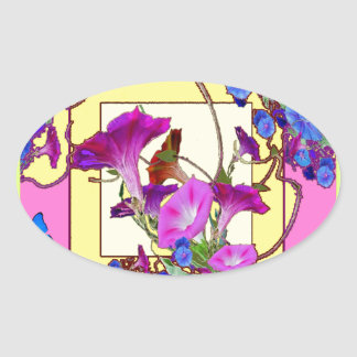Pink art Blue Morning glories Oval Sticker