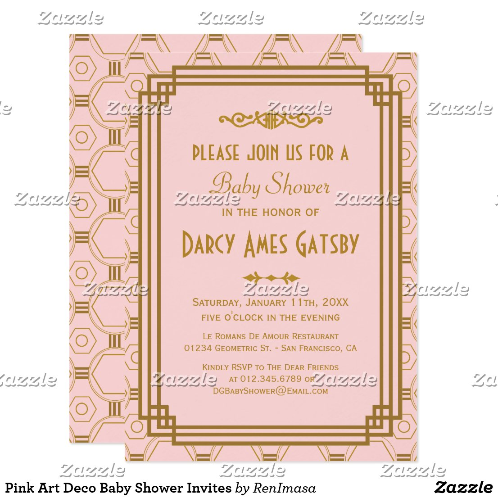 Pink Art Deco Baby Shower Invites