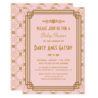 Pink Art Deco Baby Shower Invites