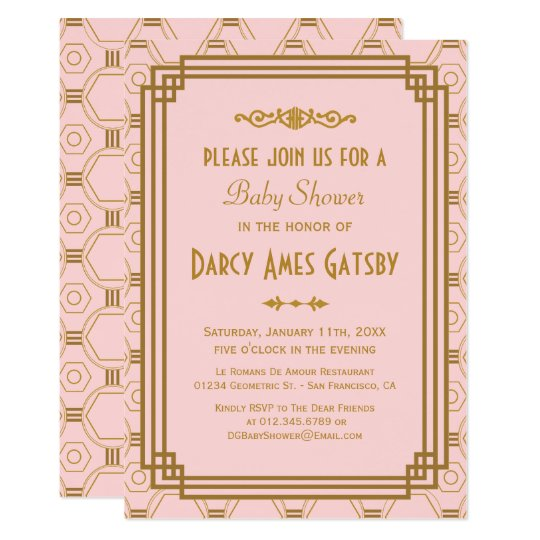 Pink Art Deco Baby Shower Invites Zazzle