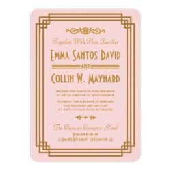 Pink Art Deco Wedding Invitations