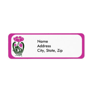 Pink Art Nouveau Flower Label