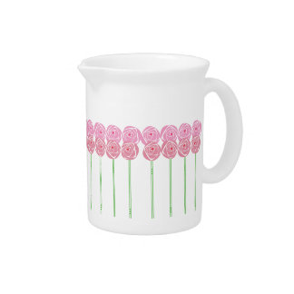Pink Art Nouveau Roses Design Pitcher Jug