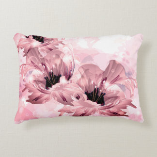 Pink Artistic Flowers Accent Pillow